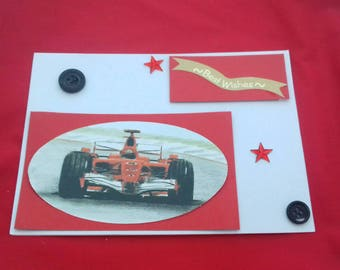 Birthday Card For Him, F1 Inspired Cards, Track racing For Him, Race Car Fan Card, Sports Themed Card