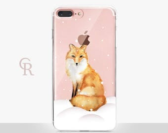 Christmas Fox Phone Case - Clear Case - For iPhone 8 - iPhone X - iPhone 7 Plus - iPhone 6 - iPhone 6S - iPhone SE Transparent - Samsung S8