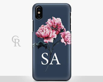 Personalised Floral Phone Case For iPhone 8 iPhone 8 Plus iPhone X Phone 7 Plus iPhone 6 iPhone 6S  iPhone SE Samsung S8 iPhone 5 Initials