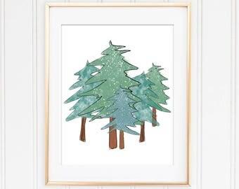 Instant Download, Christmas Tree, Christmas Print, Merry Christmas, Christmas Art, Christmas Gift, Nature Decor, Holiday Print, Green Decor