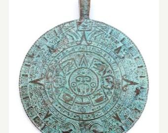 SALE 15% OFF Trailer, Mayan calendar, green patina, metal pendant of 47mm, 1 piece