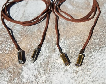 22 Caliber Bullet Casing Wrap Necklace/Bracelet - Clear/Nickel or Amber/Brass