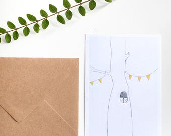 Moving in Together, greeting card, 10,5 x 15 cm, recycled envelope included. Printed on recycled matte paper.