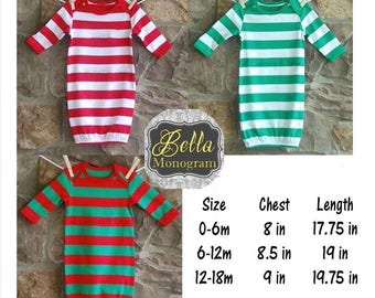 Personalized Monogrammed Christmas Pajamas, Kids Personalized Christmas Pajamas, Christmas PJ's, Monogrammed Christmas Gown