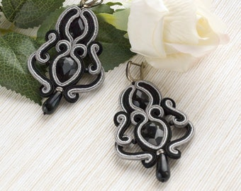 Crystal earrings, black silver earrings, soutache earrings, black long earrings, evening earrings, elegant earrings, statement earrings