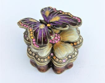 Objet D'art Jeweled Butterfly Enameled Trinket/Ring Box