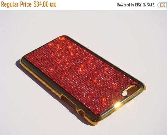 """Sale iPhone 6 / 6s 4.7"""" Red Siam Rhinestone Crystals on Gold-Bronze Chrome Case. Velvet/Silk Pouch Included, Genuine Rangsee Crystal Cases."""