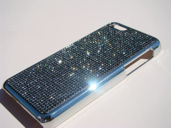 iPhone 5C Black Diamond Rhinestone Crystals on Silver Chrome Case. Velvet/Silk Pouch Bag Included, Genuine Rangsee Crystal Cases.