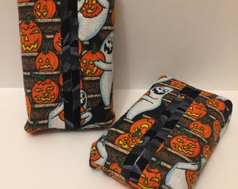 Halloween Personal Tissue Cover, pumpkins & ghosts-Trendy print,Personal size, purse size, pocket size, travel size,N STOCK, ready to ship