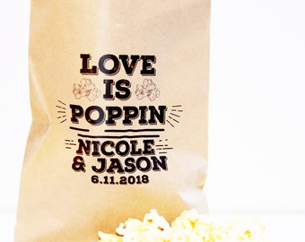 Popcorn Favor Bag, Wax Lined Favor Bag, Custom Favor Bag, Popcorn Bag, Dessert Table, Donut Bag, Wedding Favor, Love is Sweet, Donut Box