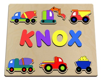 Construction Trucks Personalized Wooden Name Puzzle Custom Made From Wood Mine Cart, Cement Mixer, Excavator Backhoe, Dump truck id217024556