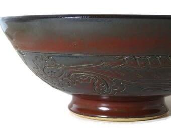 Large bowl, unique large bowl, unique fruit bowl, fruit bowl, red fruit bowl, dark red bowl, dark red decor, red decor, unique bowl