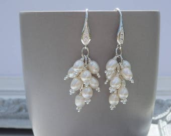 Bridal Earrings, Bridal Pearl Earrings, Pearl Earrings, Wedding Pearl Earrings, Chandelier Earrings