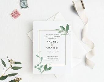Modern Botanical Rehearsal Dinner Invitation Printable, Wedding Rehearsal Dinner Invites, Letter or A4 Size (Item code: P1060)
