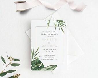 Tropical Rehearsal Dinner Invitation Printable, Wedding Rehearsal Dinner Invites, Letter or A4 Size (Item code: P1065)