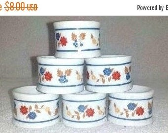 Vintage Porcelain Napkin Rings, Set of 6, Floral Napkin Rings, Fall Napkin Rings, Ceramic Napkin Rings,  Holiday Table, Country Decor