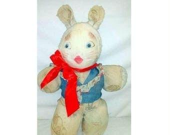 Gund Creations Bunny,Sitting Bunnie,Rabbit Plush,Bun Love,Plush Bunny,Rubber Face,Plush Rabbit,Stuffed Rabbit,Stuffed Bunny, Easter,1950s