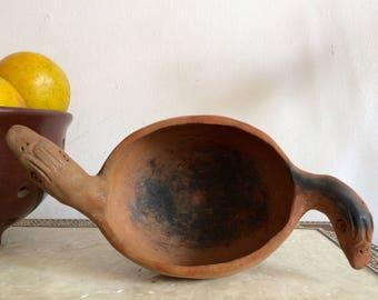 Burnt pottery bird dish, salt cellar, pot.