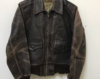 Vintage 50s Horsehide Leather Jacket, All Weather Garment, Made In California, Size M Rare
