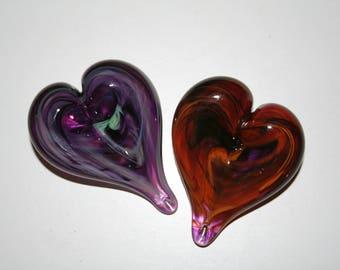 Beautiful Pair of Fused Glass Hearts Pair Love Valentine Purple Red Texture Art Handmade