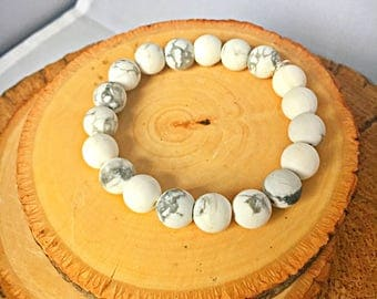 White Marbled Howlite Gemstone Beads with Sterling Silver Stretch Bracelet / gemstone bracelets / white gemstone howlite beads / silver