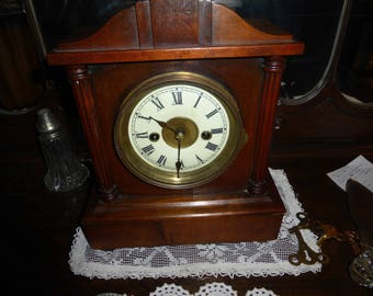 antique german 2 train mantle clock tuned up with key
