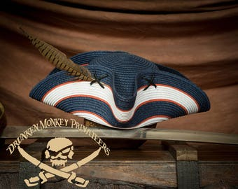 Straw Pirate Tricorn Hat, Straw Tricorn, Pirate Hat, Yankee Doodle Dandy