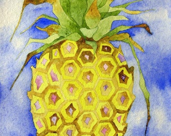 Original art, kitchen art, whimsical art, watercolor painting, kitchen decor, pineapple art, colorful art, one of a kind, pineapple painting