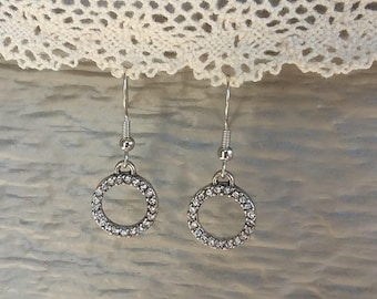 Handmade crystal circle earrings, surgical steel.