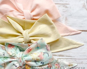 Gorgeous Wrap Trio (3 Gorgeous Wraps)- Light Pink, Champagne Bubbles & Boho Floral Gorgeous Wraps; headwraps; fabric head wraps; bows