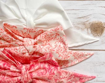 Gorgeous Wrap Trio (3 Gorgeous Wraps)- Blanc, Marseille Gardens & Primrose Floral Gorgeous Wraps; headwraps; fabric head wraps; bows