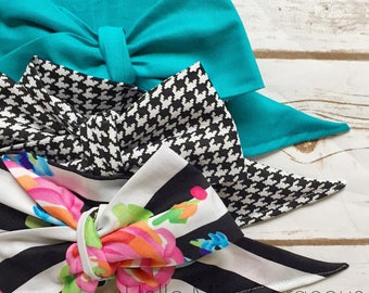 Gorgeous Wrap Trio (3 Gorgeous Wraps)- Ocean, Noir Gingham & Midnight in the Garden Gorgeous Wraps; headwraps; fabric head wraps; bows