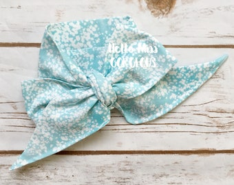 DUSTY BLUE FLORAL Gorgeous Wrap- headwrap; fabric head wrap; floral head wrap; boho; newborn headband; baby headband; toddler bow