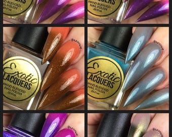 FALL 2017 (6 Piece Collection) Thermal Multi-Chrome Nail Polish plus Free Top Coat