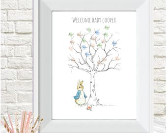 Baby Shower Fingerprint Tree Peter Rabbit Personalised,guest  Book,christening Gift, Nursery Decor