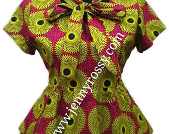 African clothing Top Ankara double  peplum ruffle Blouse bow tie top