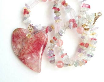 Agate heart pendant necklace red white pink pendant necklace gift for her red handmade pink agate fluoride ametisty quartz ref pink necklace
