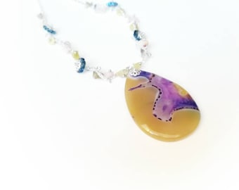 Agate pendant purple yellow gemstone chain boho necklace transparent agate beads locket jewelry gift for her Mom jade quartz unique handmade