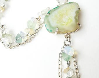 Quartz agate druzy pendant unique gemstone chain boho little necklace light green fluorit gift for her Mom gems locket jewelry slice geode
