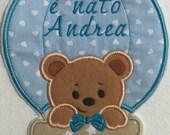 Fiocco Nascita Bimbo fuoriporta ospedale personalizzato con nome capoculla azzurro con cuori annuncio porta studio del papà, casa dei nonni