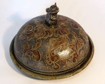 Vintage Betschdorf Pottery salt glazed cheese dish & mouse handed cover