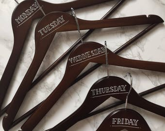 Dark wood clothes hangers days of the week clothing hangers wooden weekday hangers outfit hangers days of week hangers husband gift
