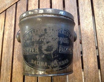 Vintage Antique Kettle Rendered Pure Lard Tin, Pail, Bucket, Sunflower Brand,Butzer Packing Co, Salina, Kansas