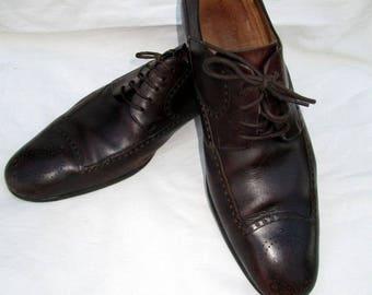 SZ 11 d vintage GUCCI men stylish brown italian leather dress shoes