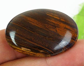 100% Natural brown Tiger eye oval cab.  Brown cabochon pendant size 40x30x7 mm. MMA