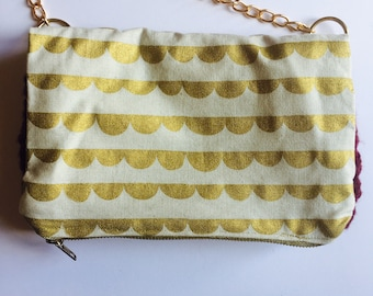 Clutch, Japanese fabric and wool