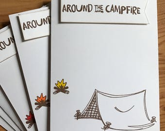 Set of 3 Around the Campfire Note Cards from Camp