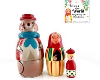"Polish Fairy Tale ""Little Red Riding Hood"" Vintage Nesting Dolls, Folk Tale Babushka Doll, Matryoshka Doll. Made in Poland. Set of Three."