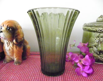 """Olive Green Glass Ribbed Vase - Large - 7 1/4"""" Tall"""