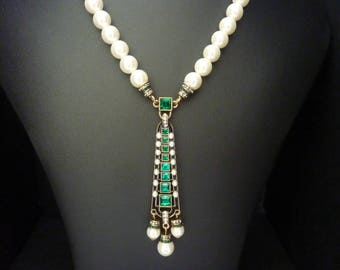 Art Deco Necklace Jewelry Emerald Necklace Great Gatsby Necklace Art Nouveau Jewelry Pearl Necklace Downton Downtown Abbey Wedding Bridal